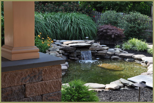 Landscape design plantings hardscapes water features for Design of water harvesting pond